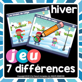 French Winter Game: find the 7 differences in the pictures. Great way to improve visual discrimination and writing/speaking French skills !