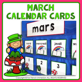 French calendar cards with tasks: MARCH | MARS