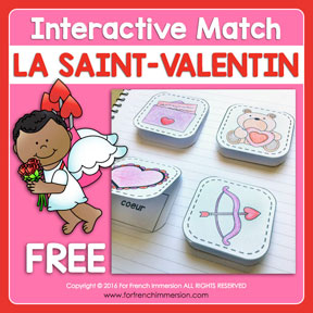 FREE French Interactive Vocabulary Match: fun way to practice Valentine's Day vocabulary in French!