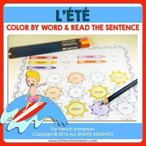 French Summer Color & Read: learning high-frequency words in French has never been more fun!