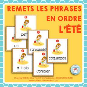 French Summer Scrambled Sentences: des phrases mêlées en français - pour l'été
