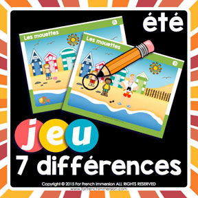 French Summer Game: find the 7 differences in the pictures. Great way to improve visual discrimination and writing/speaking French skills !