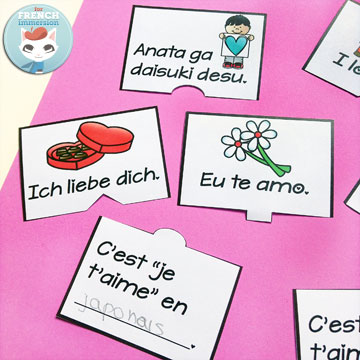 "Lapbook de la Saint-Valentin – French Valentine's Day Lapbook: interactive foldable activities, and more French practice! (pictured) ""Je t'aime"" in other languages puzzles"