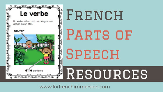 French Parts of Speech Resources: les classes de mots. Posters with 8 French parts of speech and fun practice with clip cards!