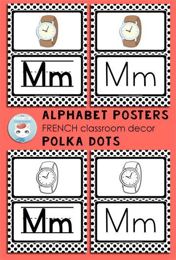 French Classroom Decor Polka Dots: alphabet posters in four versions. A beautifully-decorated French classroom with little color ink use!