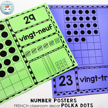 French Classroom Decor Polka Dots: number posters in two versions. A beautifully-decorated French classroom with little color ink use! Version 1: number, word form, and ten frames. Version 2: number, number word, ten frames, tally marks, and base 10 blocks. Choose the number representations you'd like to display in your French classroom!