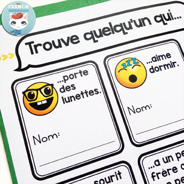 """French Back-to-school Lapbook EMOJI: the perfect activity for """"la rentrée""""! This French lapbook has writing prompts, foldable flaps, and more –with lots of emojis :D This """"find someone who..."""" with emojis will win your students over ;)"""