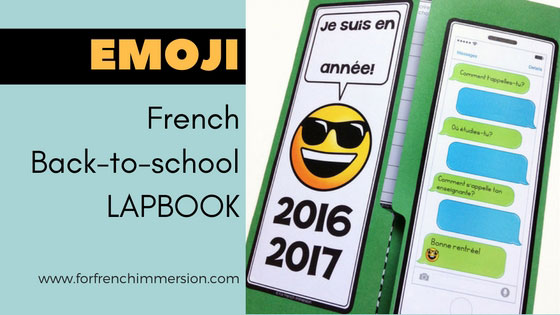 "French Back-to-school Lapbook EMOJI: the perfect activity for ""la rentrée""! This French lapbook has writing prompts, foldable flaps, and more – with lots of emojis :D"