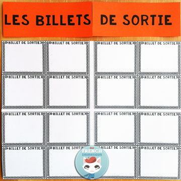 French Exit Tickets  For French Immersion