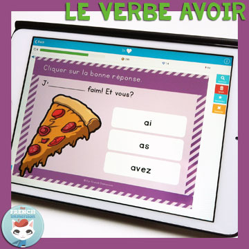 French Verbs Present Tense Practice: le verbe avoir au présent de l'indicatif. Self-correcting digital task cards for tablets and computers.