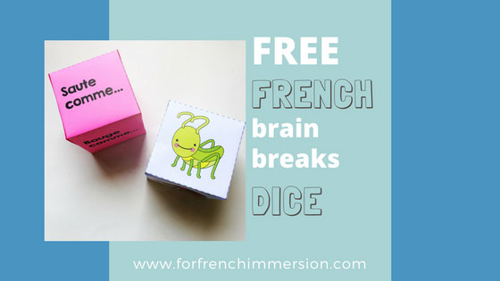 FREE French Brain Break Dice: insects and sea animals! Students losing focus? Or just tired? Time for a brain break! Roll these dice and get your kiddos moving and re-focusing!