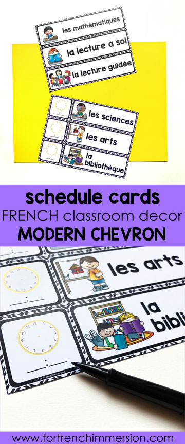 French Classroom Decor Modern Chevron: schedule cards. A beautifully-decorated French classroom with little to no color ink use! Classroom schedule cards, in color and B&W. You can type in the subjects names YOU use!