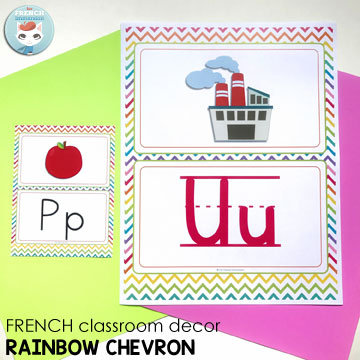 French Classroom Decor Rainbow Chevron: alphabet posters in different versions. Wouldn't you like your French classroom decorated with colorful chevron? Just get this decor set and print all the items your need. Try printing 4 pages per sheet for a reduced version of the poster (pictured)