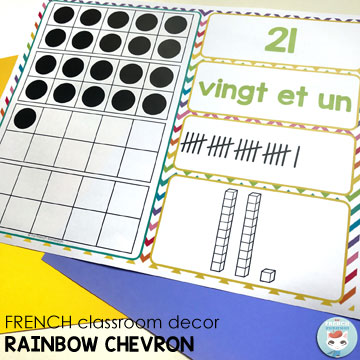French Classroom Decor Rainbow Chevron: numbers 0-31 posters (number, number word, tally marks, base 10 blocks, ten frames)