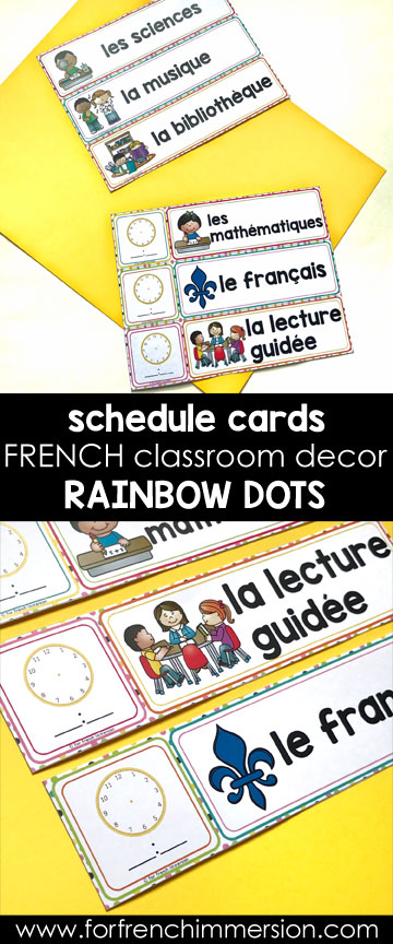 French Classroom Decor Rainbow Dots: classroom schedule cards. You can type in the subjects' names YOU use in your classroom!