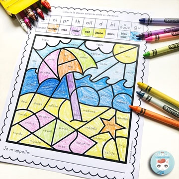 French Summer Color by Sound Worksheets: fun and engaging way to have students work on French phonics and develop critical thinking skills! Pour l'été   coloriage magique