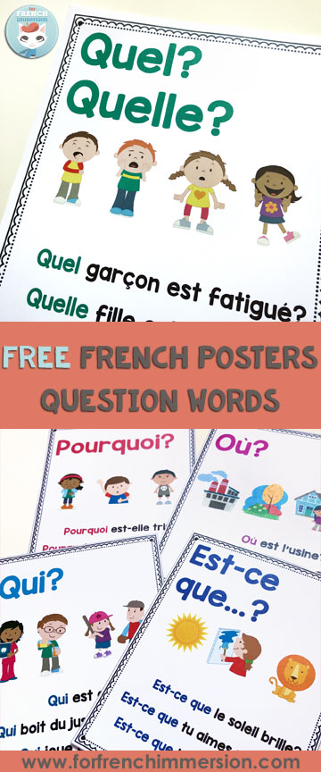 French Question Words: FREE posters - For French Immersion