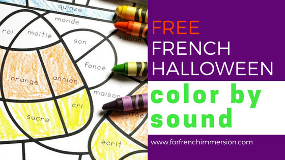 FREE French Halloween Color by Sound Worksheets: fun and engaging way to have students work on French phonics and develop critical thinking skills! Pour Halloween | #coloriagemagique #frenchimmersion #frenchphonics #frenchhalloween