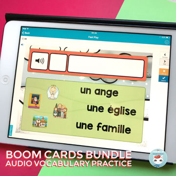 French Vocabulary Practice with audio digital task cards (Christmas set): fun way to help your kiddos learn French words related to seasons and holidays! #frenchimmersion #corefrench #forfrenchimmersion #vocabulaire #noël #frenchchristmas