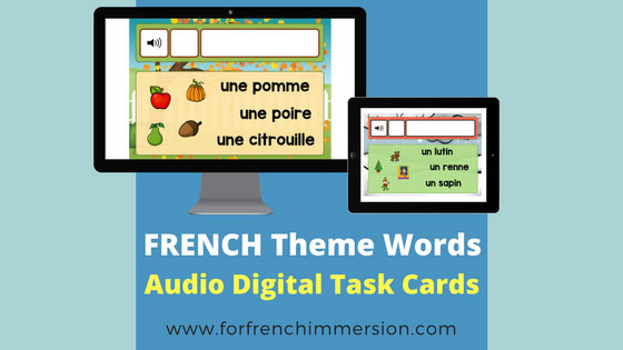 French Vocabulary Practice with audio digital task cards: fun way to help your kiddos learn French words related to seasons and holidays! #frenchimmersion #corefrench #forfrenchimmersion #vocabulaire