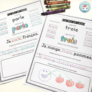 Le mot du jour – volumes 1 and 2: printable worksheets for your students to practice one high-frequency word a day (read, color, trace, write, and more!) #lemotdujour #forfrenchimmersion #frenchimmersion #corefrench #vocabulaire