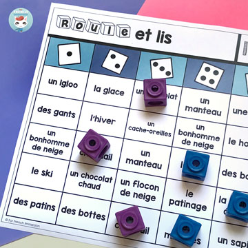 French Vocabulary Game: Seasonal / Holiday Themes | French Roll and Read / French Roll and Say the Name – fun addition to your French literacy centres! Great for independence practice! #frenchimmersion #corefrench #frimm #vocabulaire #forfrenchimmersion