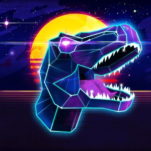 Outrun sunset jurassic park neon t-rex
