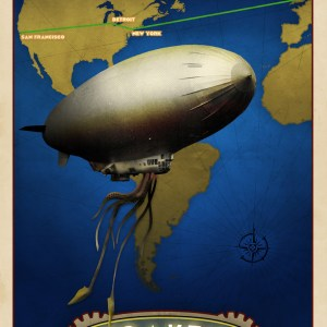 Steampunk Dieselpunk Airship Travel Poster Art Deco