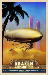 Steampunk Egypt Travel Poster Airship
