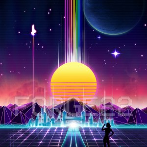 neon sunrise tron cities 80s grid