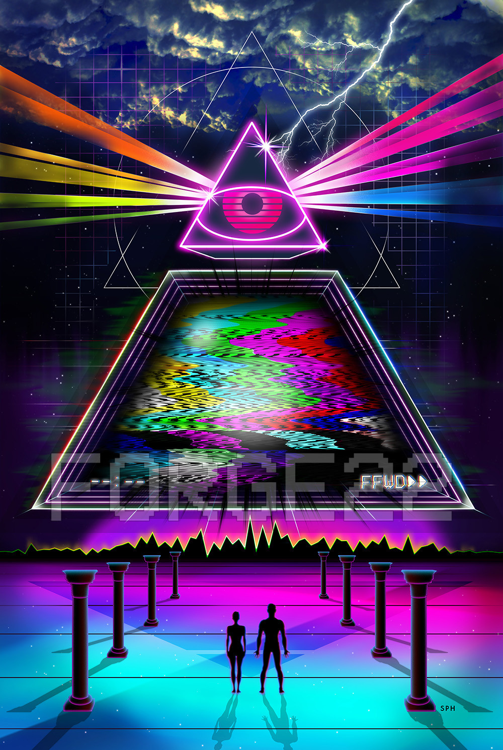 Synthwave Outrun Visual Art Design - Neon 80's grid future ...
