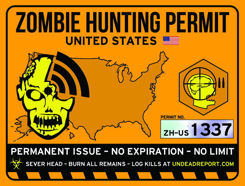Zombie Hunting Permit Design Sticker Art