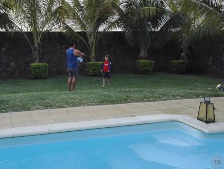 Herman and Miles playing ball