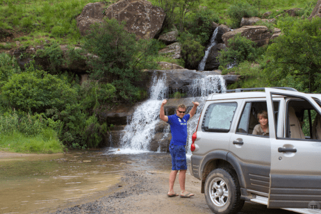 Steve (our host) celebrates crossing our first river