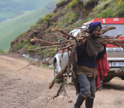 Lesotho Man with sticks