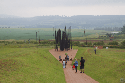 Approaching the Mandela Sculpture