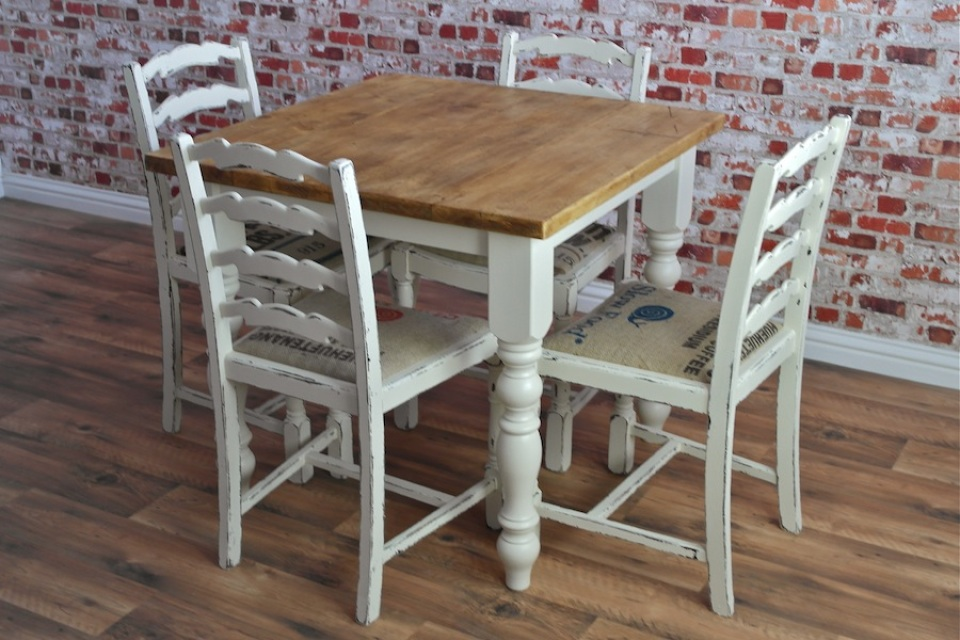 Square Two Four Seater Rustic Reclaimed Dining Set With Dining Table And Sack Cloth Dining Chairs