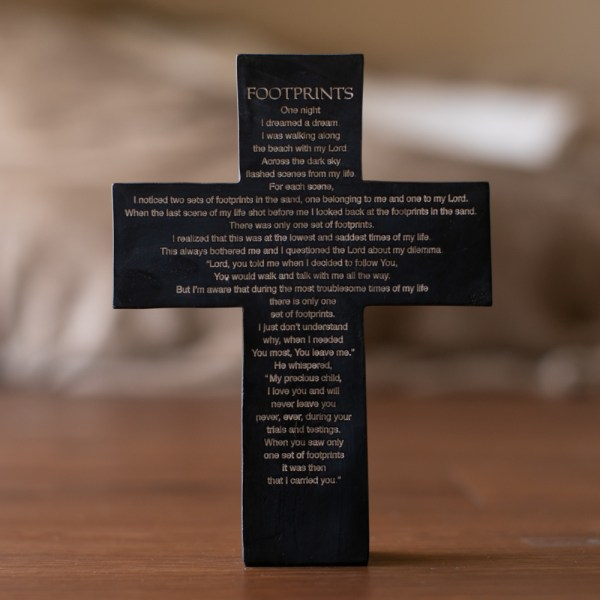 Footprints Resin Cross