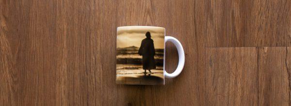 White Ceramic Footprints Jesus Coffee Mug