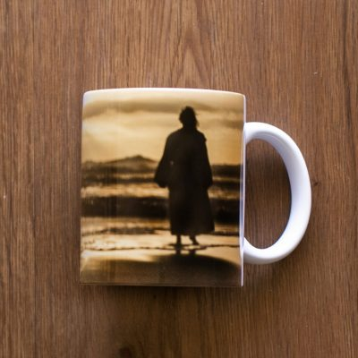 White Ceramic Footprints Jesus Coffee Mug