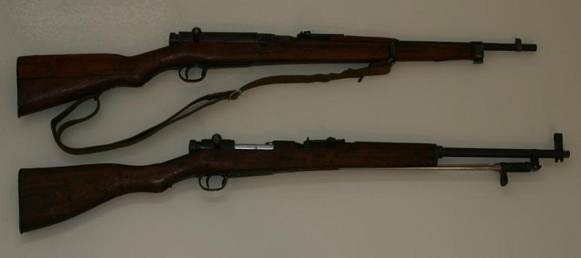 Two converted Type 38 Arisakas in 7.62x39mm