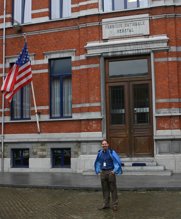Ian at the main building of FN Herstal