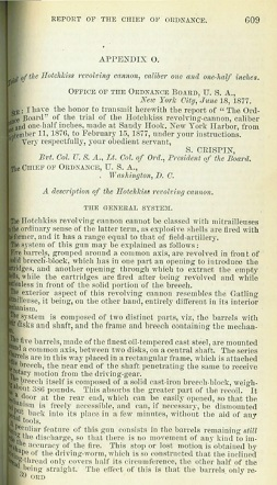 Hotchkiss Revolving Cannon test report, US Ordnance Board (English, 1877)