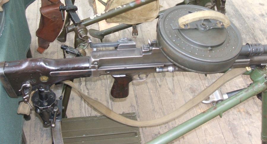 Bren gun with 100-round drum magazine