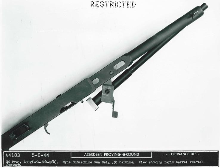Quick-change barrel on Hyde's 1944 carbine