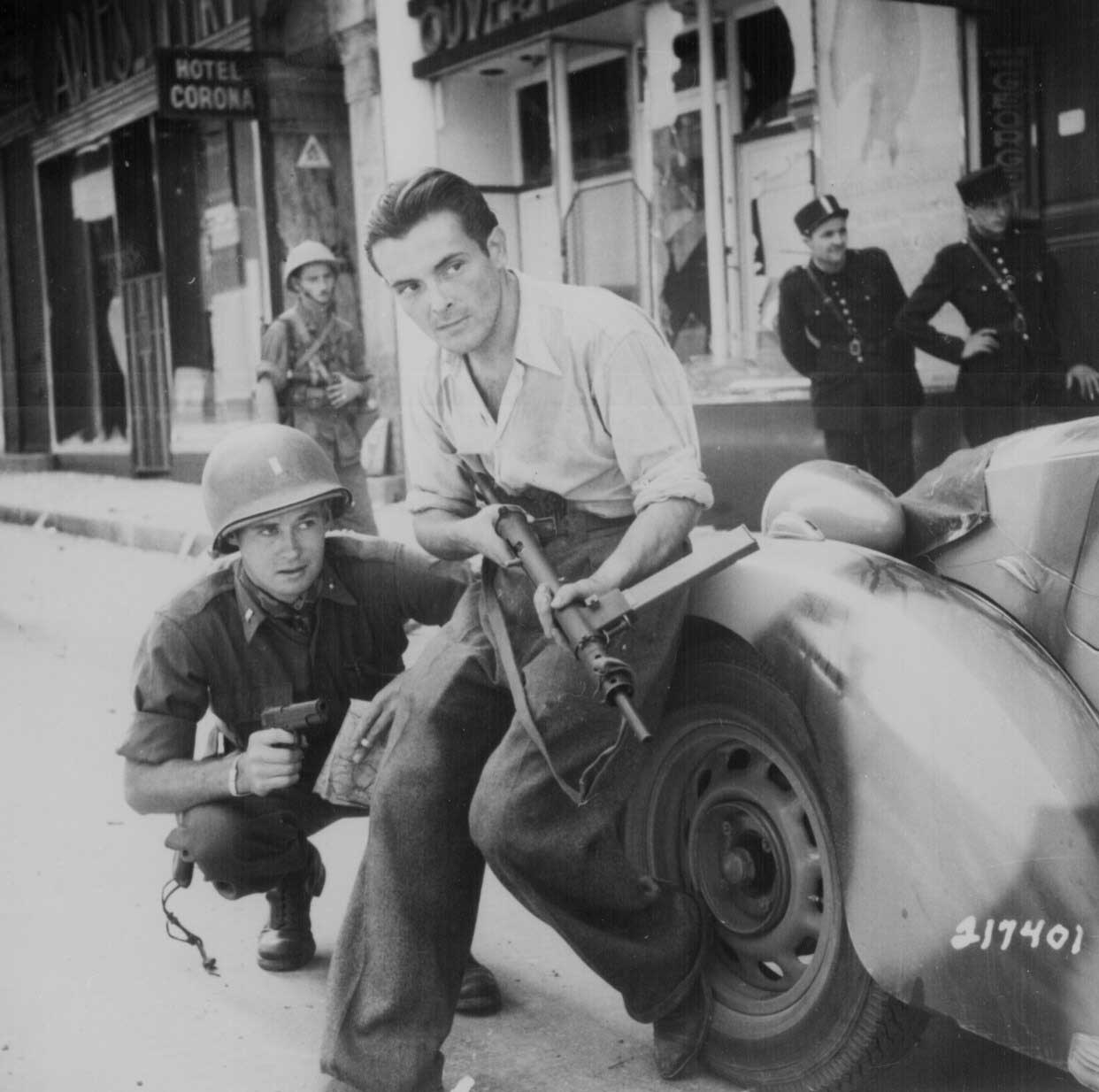 French resistance fighter with a Sten - June 1944