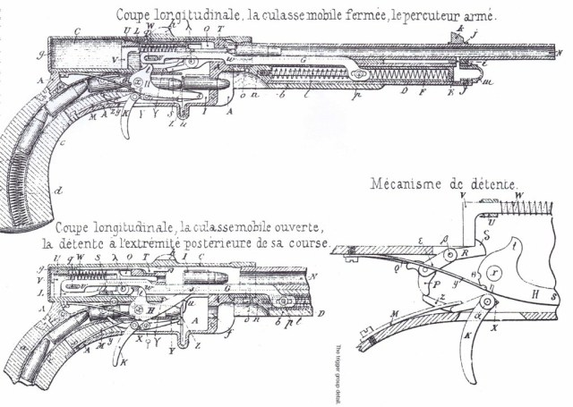 Clair pistol patent drawing