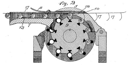 Patent drawing of a feed strip system for the Gatling