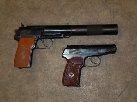 PB pistol compared to standard Makarov PM pistol