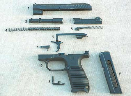 GSh-18 disassembled